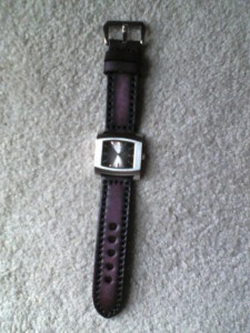 Guess G66471G shown with Thick Vintage Leather Watch Band Strap w/ Heavy Duty Contrast Stitching