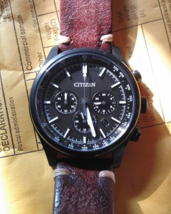 Vintage hand-stitched strap on Citizen military chronograph