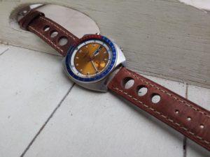 Seiko 6139 6002 Pogue with Dassari rust rally strap