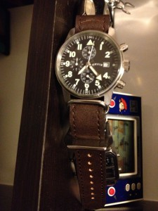 Orvis Field Chronograph (40.4mm) with leather nato strap from strapsco.com