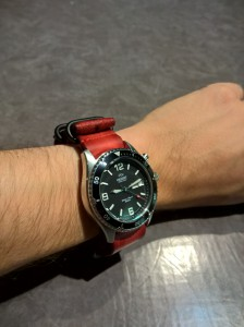Orient mako with an awesome red strap!