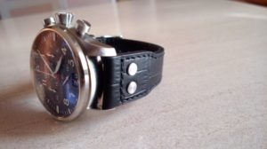 Dassari 22mm Aviator Black Croc Embossed Leather Band on an Alpina Startimer Big Date