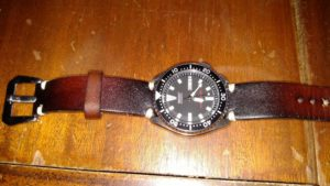 Seiko SKX173 with burnt ombre and Pre-V buckle