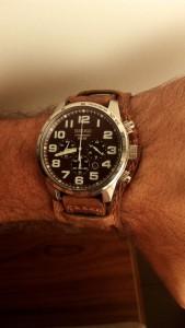 Seiko solar chronograph on strapsco distressed bund strap