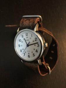 Timex Weekender on Ultra Distressed Dark Brown Nato