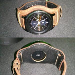 Samsung Gear S2 Classic with DASSARI Legend Distressed Vintage Style Bund Strap in Tan & Custom Hole