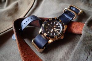 Seiko Gold Urchin on Blue leather Zulu w/gold hardware