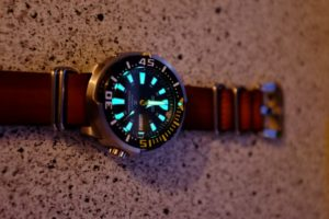 Baby tuna on 5 ring nato dark brown