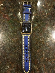 24mm thick vintage leather blue/yellow stitching