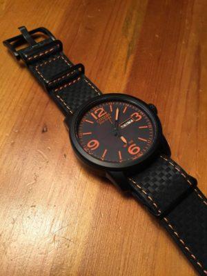 Black Carbon Fiber W/ Orange Stitch on Citizen