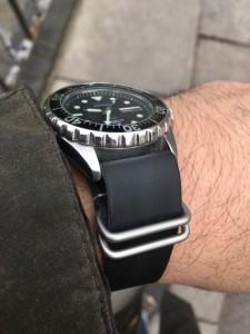 Black leather G10 Nato on Seiko Kinetic.