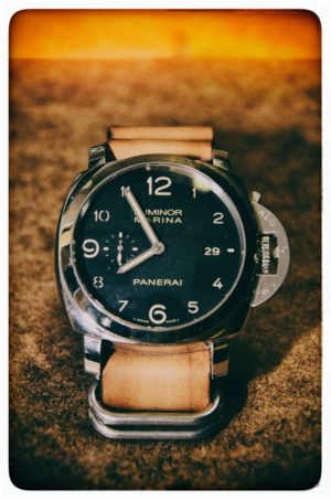 PAM359 w/ StrapsCo Vintage Brown Leather G10 Zulu Mens Watch Band Strap Heavy Duty Rings