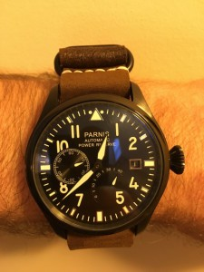 Parnis big pilot power reserve w/ NATO G10 dark brown w/black hardware