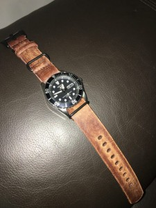 Seiko snzf17 on distressed 22mm brown leather NATO