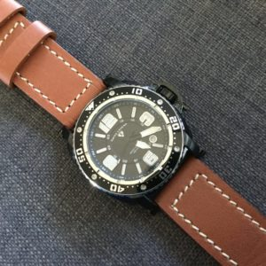 My Swiss Legend Typhoon came with a too big and thick silicon black strap, I switched to a brown leather StrapCo Bentley model. I love it!