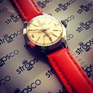 Strapsco Orange Ladies XL leather on Vintage Carol Swiss Watch