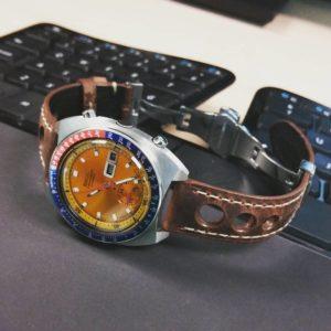 #vintagewatch #seikopogue on #strapsco strap. #speedtimer #spacewatch #seiko6139 #pogue