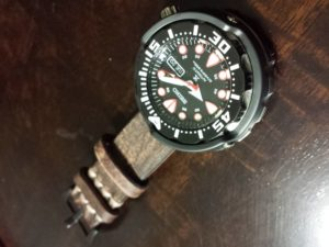 Extra Thick Antique Leather Band on Seiko SRP655