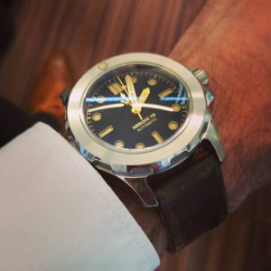 Heroic18 model S8400 with a StrapsCo Extra Thick Antique Vintage Leather Watch Band