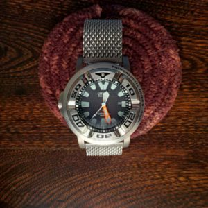 Milanese band dive watch bracelet on Citizen Eco zilla with Stevral adaptors