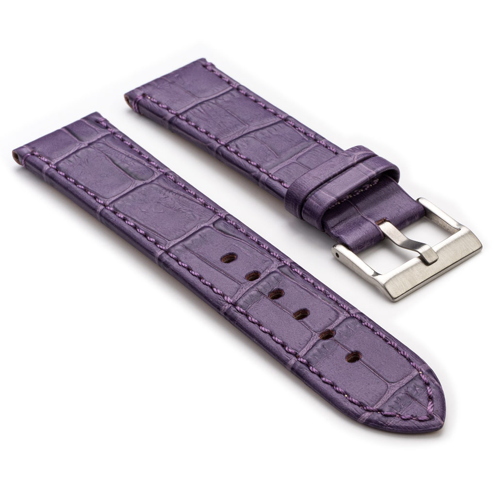 Crocodile embossed flat leather watch strap strapsco for Violet leather strap watch