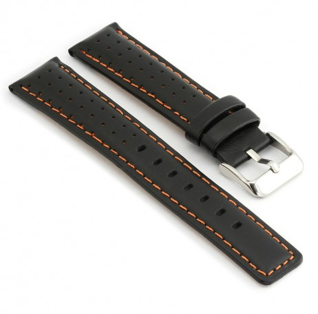 367.1 Perforated Rally Strap in Black with Orange Stitching