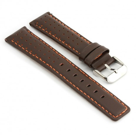 367.2 Perforated Rally Strap in Dark Brown with Orange Stitching