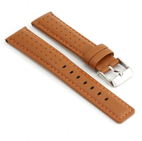 367.3 Perforated Rally Strap in Tan with Orange Stitching