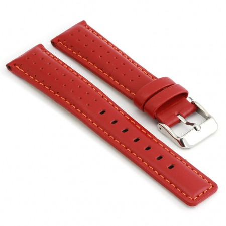 367.6 Perforated Rally Strap in Red with Orange Stitching