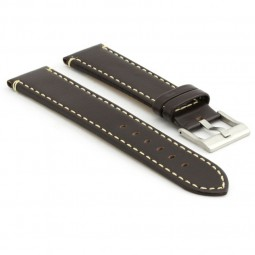 373.2 Flat Leather Watch Strap in Dark Brown