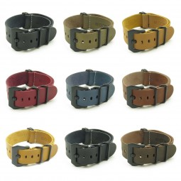 All Color NT.pv.mb Leather NATO Strap w Black Pre-V Buckle