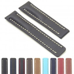 DASSARI Capital brc2 Smooth Italian Leather Strap for Deployment Clasp  in Black