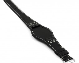 DASSARI-Quest-db3.1-Vintage-Leather-Bund-Strap-w-Rivets-in-Black
