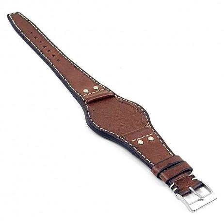 DASSARI Quest db3.2 Vintage Leather Bund Strap w Rivets in Brown