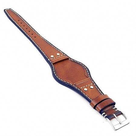 DASSARI Quest db3.3 Vintage Leather Bund Strap w Rivets in Tan