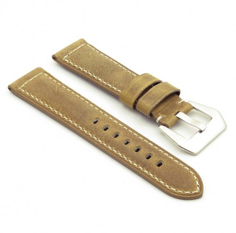 DASSARI Salvage p560a.10 Thick Padded Distressed Italian Leather Strap w Black Pre V Buckle in yellow