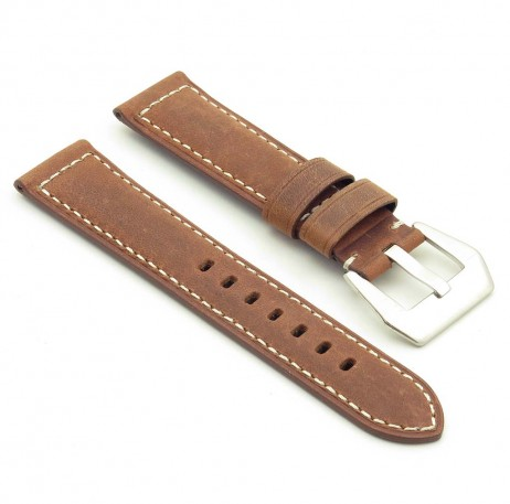 DASSARI Salvage p560a.3 Thick Padded Distressed Italian Leather Strap w Pre V Buckle in tan