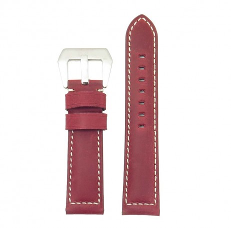 DASSARI Salvage p560a.6 Thick Padded Distressed Italian Leather Strap w Pre V Buckle red