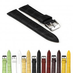 Gallery 379 Crocodile Embossed Padded Leather Watch Strap