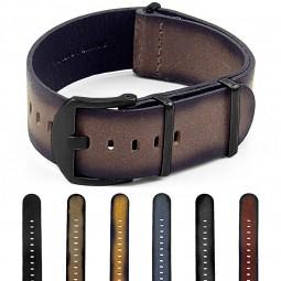 Gallery DASSARI Slater dn9 Distressed Leather NATO Strap w Matte Black Hardware