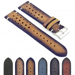 DASSARI Speedster ra2.3 Perforated Vintage Leather Rally Strap in Tan