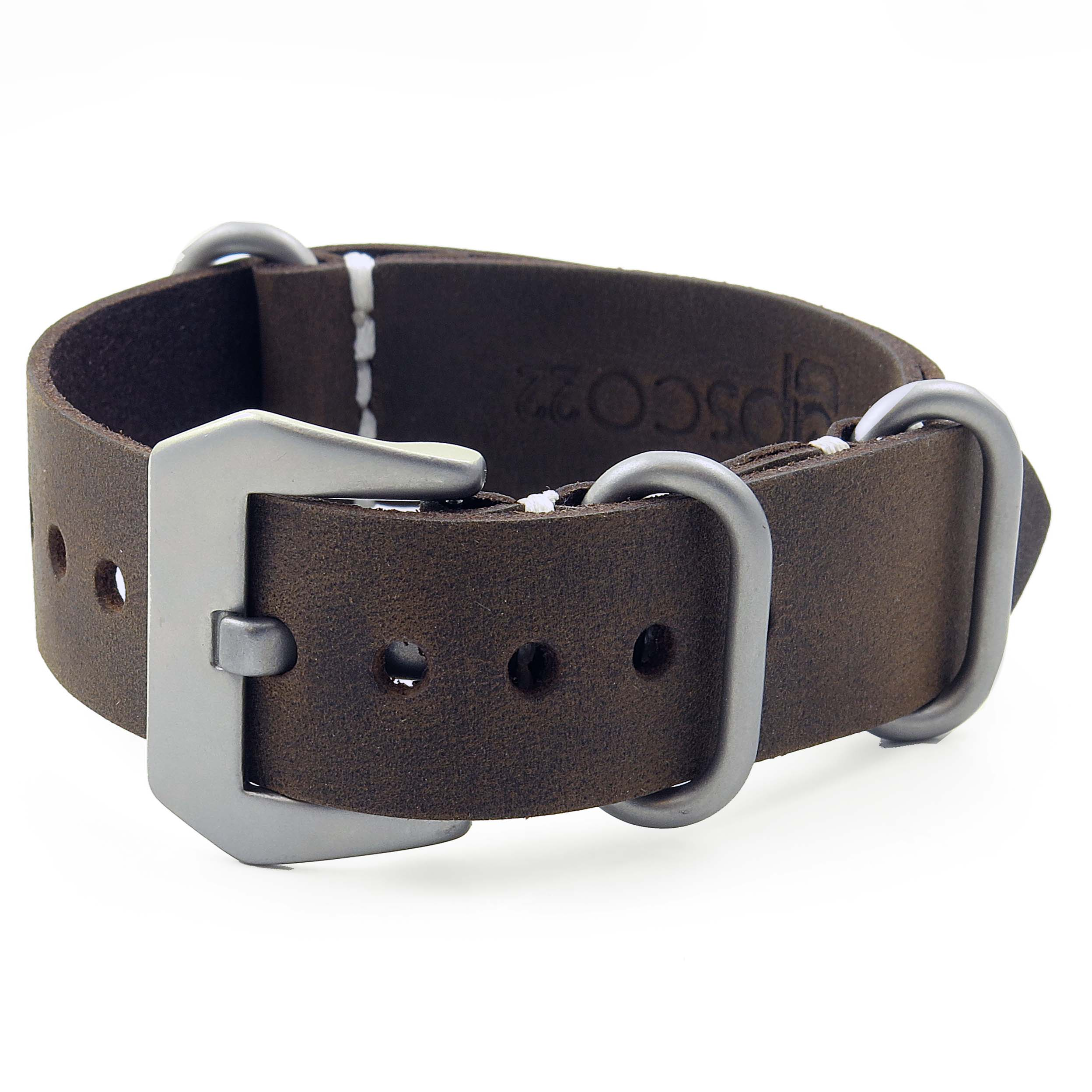 4733c5b5f16 ... Leather NATO Strap with Matte Black Buckle in +. Next