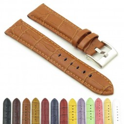 368.3 Crocodile Embossed Padded Leather Watch Strap in Brown