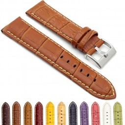 378.3 Crocodile Embossed Padded Leather Watch Strap with Contrast Stitching in Brown