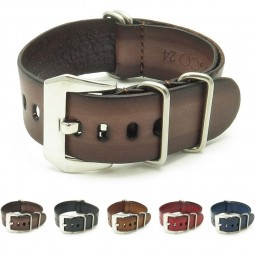 Gallery st793.2.pv Faded Vintage Leather NATO Strap w Pre V Buckle