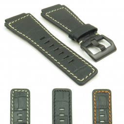 gallery BR2.1.22.mb Bell and Ross Croc watch strap in black with white stitching