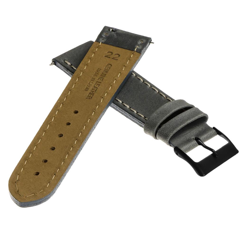 StrapsCo-Quick-Release-Vintage-Top-Grain-Leather-Watch-Band-w-Matte-Black-Buckle thumbnail 19