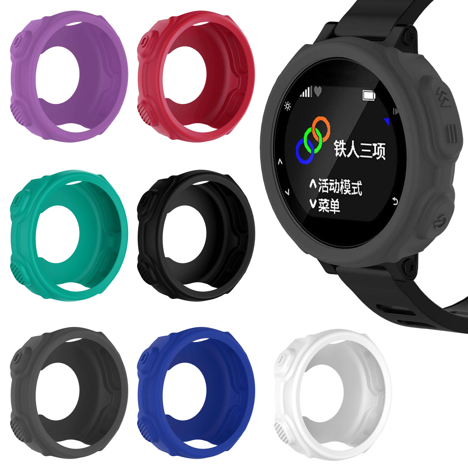 Silicone Skin Case Cover for Garmin Forerunner 235 735XT Watch Teal